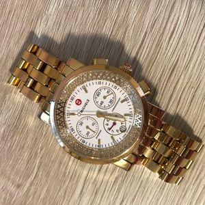 Michele gold diamond watch